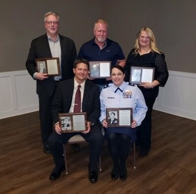 Air Force Office of Special Investigations Tinker Detachment 114 Commander, Lt. Col. Shannon Bancroft-James, poses with her 2019 Allendale, Mich., Public Schools Hall of Fame Induction Class. (Courtesy photo)