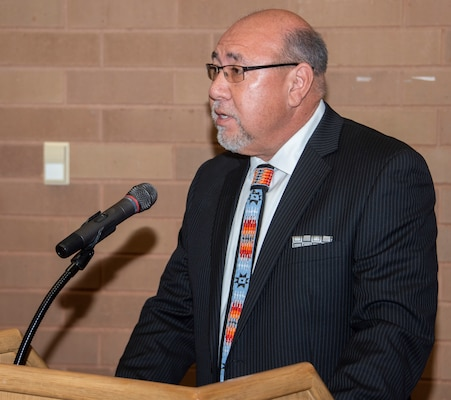 """Dr. Lee """"Eagleboy"""" Walters, a member of the Blackfeet Nation, speaks to the crowd during Brooke Army Medical Center's National American Indian Heritage Month observance Nov. 26. Walters has worked with American Indian communities for more than 30 years."""