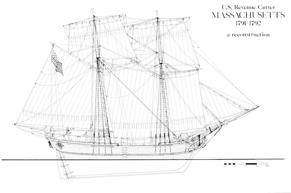 Line drawing of the Revenue Cutter Massachusetts