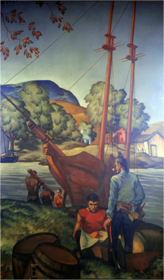 A fanciful rendering of the Revenue Cutter Massachusetts under construction as painted by WPA artist Aldis Brown.