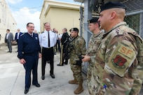 U.S. Air Force Gen. Joseph Lengyel (left), chief of the National Guard Bureau, speaks with 156th Security Forces Airmen at Muñiz Air National Guard Base, Puerto Rico Air National Guard, Dec. 2, 2019. Lengyel met with senior leaders and discussed the missions and needs of the Puerto Rico National Guard.