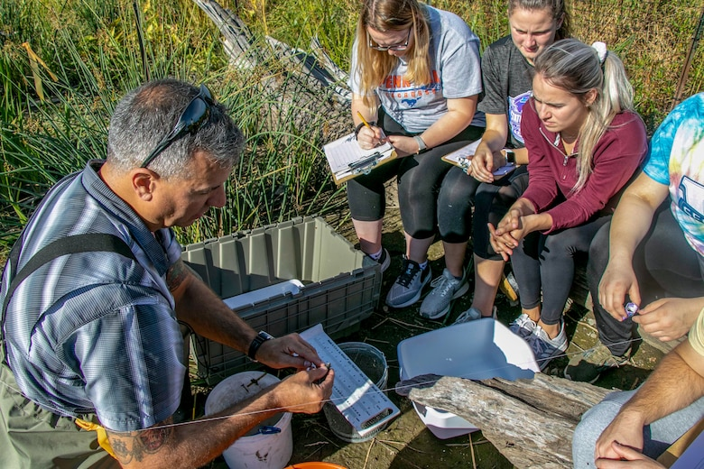 U.S. Army Corps of Engineers Buffalo District biologists recently taught D'Youville College students basic wetland delineation and fish population surveys as part of two separate labs for the D'Youville BIO 189-A Great Lakes laboratory course.