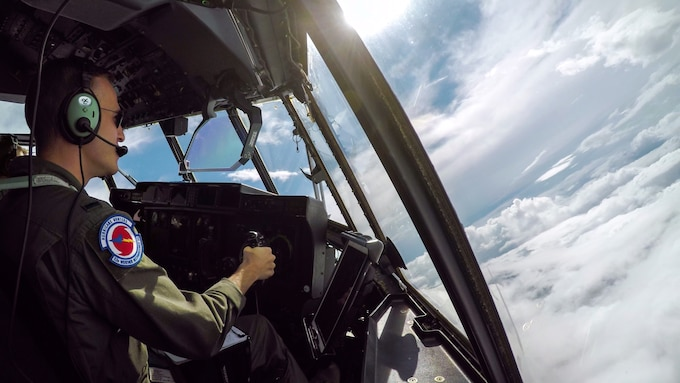 1st Lt. Ryan Smithies, 53rd Weather Reconnaissance Squadron pilot, flies a WC-130J Super Hercules in the eye of Hurricane Dorian Sep. 4,2019 off the coast of Savannah, Georgia.