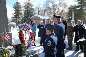 Air Force Maj. Gen. Timothy LaBarge, commander of the New York Air National Guard and assistant adjutant general of New York, and New York State Command Chief Master Sgt. Maureen Dooley salute after presenting a wreath from President Donald Trump at the grave of President Martin Van Buren in Kinderhook, N.Y. on  his 237th birthday, Dec. 5, 2019.