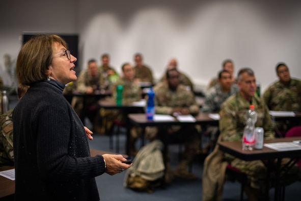 Dr. Paulina De Santis, Defense Language Institute instructor, teaches a Russian language course at Ramstein Air Base, Germany, Dec. 3, 2019. The purpose of the course is to give Airmen who work in partner nations a chance to sharpen their language and culture skills, which will enable mission success. (U.S. Air Force photo by Staff Sgt. Devin Boyer)