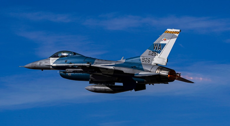 An F-16 Fighting Falcon takes off