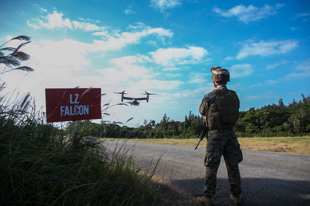 Capt. George McArthur, the Headquarters Company Commander for the 31st Marine Expeditionary Unit Command Element, observes an MV-22B Tiltrotor aircraft land before a conditioning hike in the Central Training Area, Okinawa, Japan, Nov 27, 2019. More than 150 Marines and Sailors Flew to a landing zone six miles away, marching back with a sustainment load, personal protective equipment, and weapons in preparation for an upcoming deployment. The 31st MEU, the Marine Corps' only continuously forward-deployed MEU, provides a flexible and lethal force ready to perform a wide range of military operations as the premier crisis response force in the Indo-Pacific region.