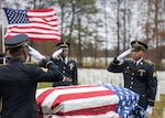 Members of the New York Military Forces Honor Guard provide military honors for the funeral service of former Army paratrooper Pvt. Needham Mayes at Calverton National Cemetery, N.Y. Dec. 2, 2019. Mayes, 85, a Soldier dishonorably discharged from the Army in 1955 after a bar fight, had his discharge upgraded to honorable and was buried, today, with his comrades-in-arms.