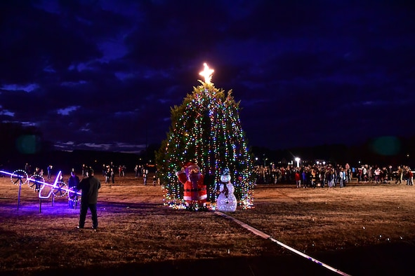 Members from the 19th Airlift Wing kicked off the holiday season with a tree lighting ceremony.