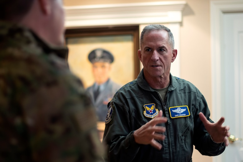 Air Force Chief of Staff Gen. David L. Goldfein talks with Col. Jeff Nelson.