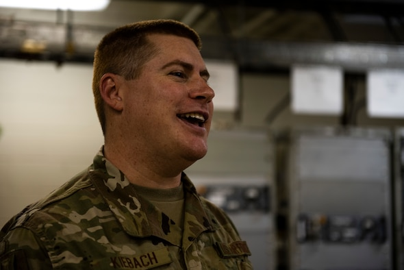 U.S. Air Force Staff Sgt. Christopher Kiebach, 325th Operations Support Squadron Radar, Airfield, and Weather Systems supervisor has a conversation at Tyndall Air Force Base, Florida, Nov. 26, 2019. Kiebach and his team maintain air traffic and control systems for Tyndall including all means of communication from air traffic controllers to aircraft operators via radio, as well as interagency communication via telephones. Kiebach is originally from Sierra Vista, Arizona, and has been in the service for ten years. (U.S. Air Force photo by Staff Sgt. Magen M. Reeves)