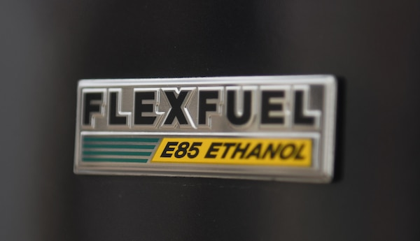 Flexfuel decal on a vehicle.