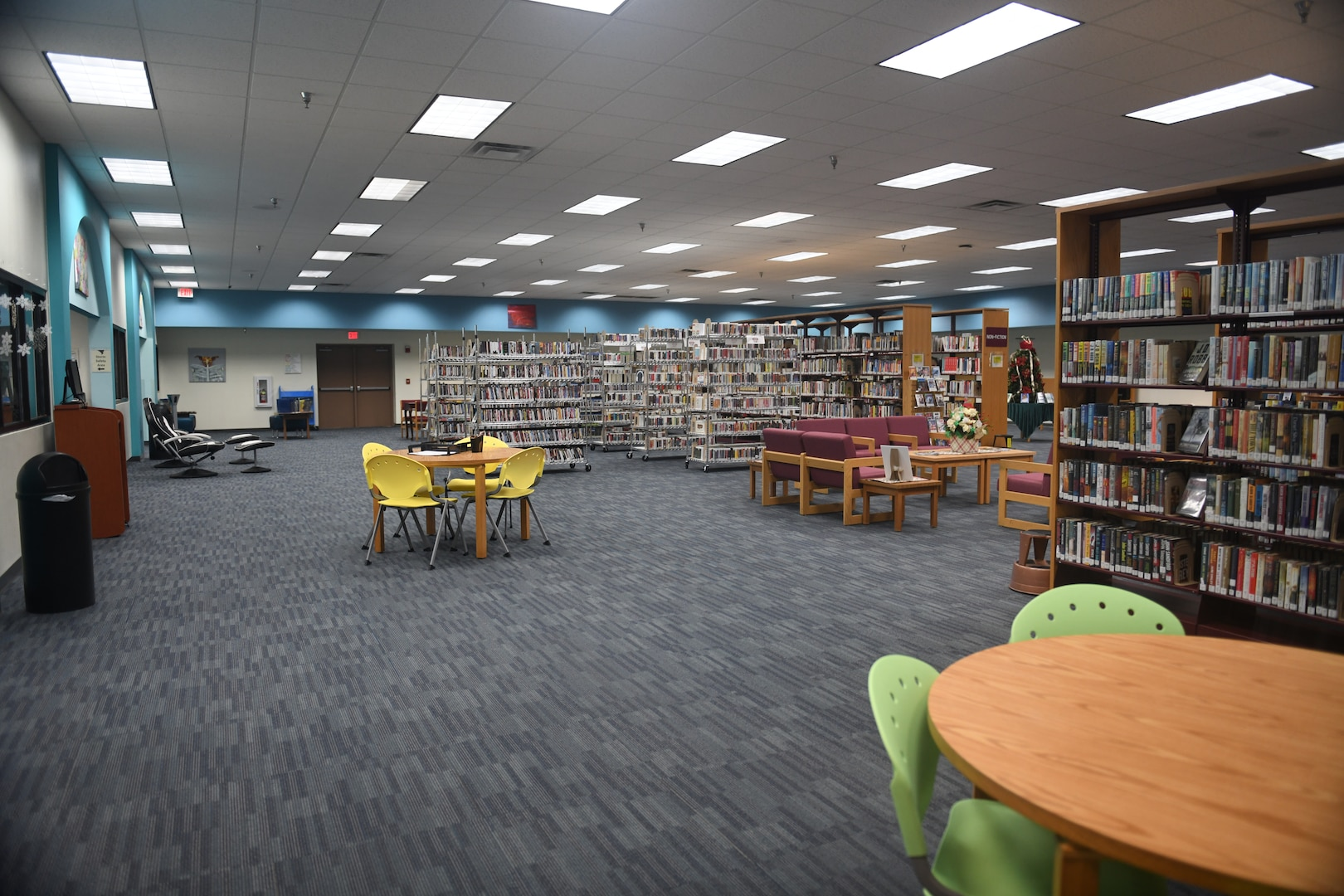 A view of the main area from the children's area of the library at Joint Base San Antonio-Randolph, Texas, Dec. 5, 2019. The modern bookstore layout adds to the Randolph facility's more accommodating feel.