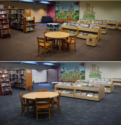 Before (above) and after images of the children's area of the Joint Base San Antonio-Randolph Library, Texas, with new carpet and book bins Dec. 5, 2019. Starting Feb. 1, the library will be closed temporarily for the transformation's finishing touches: new furniture and solid-wood shelves throughout the building.