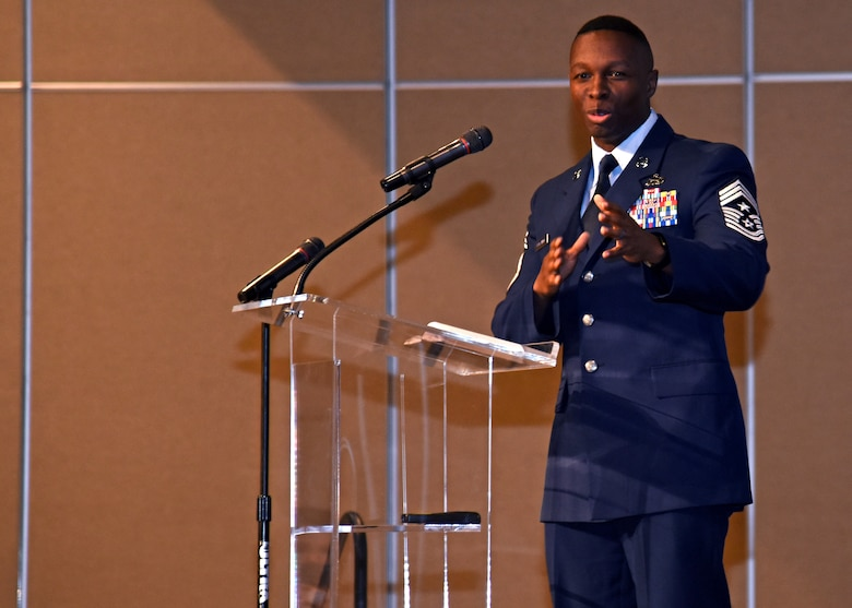 U.S. Air Force Chief Master Sgt. Lavor Kirkpatrick, 17th Training Wing command chief, speaks to the 20 selectees of the 20 Under 40 San Angelo at the McNease Convention Center in San Angelo, Texas, December 5, 2019. 20 Under 40 San Angelo is a program created to recognize 20 people under the age of 40 that are influential members of the city. 