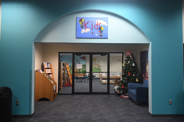 """The entrance way to the children's area of the Joint Base San Antonio-Randolph Library, Texas, with new carpet and book bins Dec. 5, 2019. There will be new signage and nooks and crannies that will be quieter. """"We're just trying to improve service here and make people more comfortable,"""" said Diana Lisenbee, supervisory librarian."""