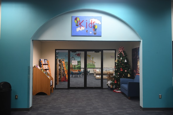 "The entrance way to the children's area of the Joint Base San Antonio-Randolph Library, Texas, with new carpet and book bins Dec. 5, 2019. There will be new signage and nooks and crannies that will be quieter. ""We're just trying to improve service here and make people more comfortable,"" said Diana Lisenbee, supervisory librarian."