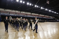 Members of the 257th Army Band, District of Columbia National Guard, march during the Annual Awards and Decorations Ceremony on December 8, 2019 at the DCNG Armory, Washington, D.C. The ceremony included a 'pass and review' marching element and presentation of awards and year-end review video. (Photo by Staff Sgt. Tyrone Williams/Released)