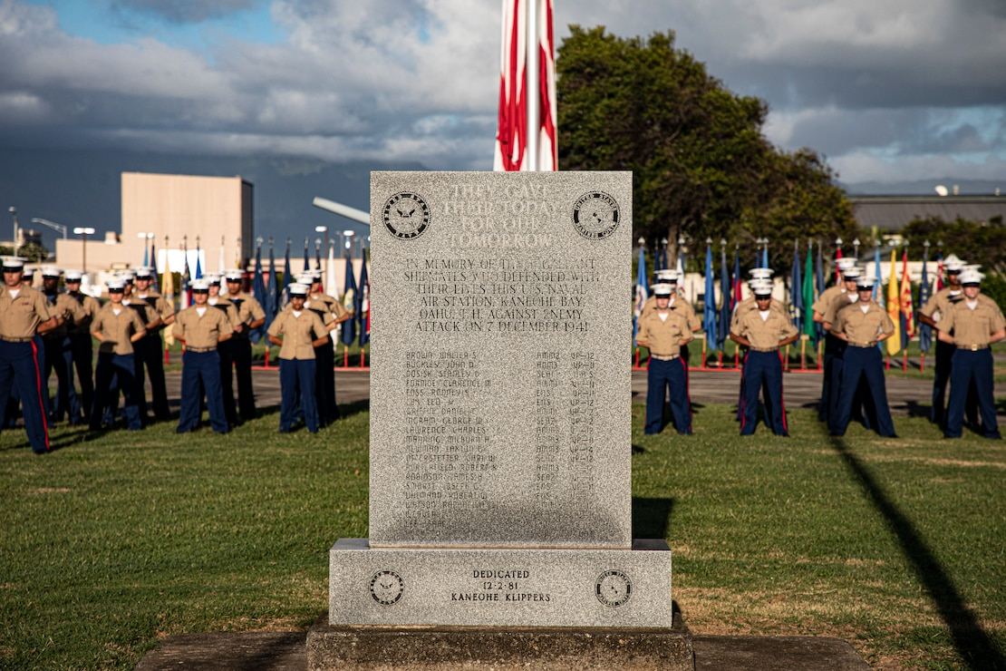 U.S. Marines honor those who gave their lives aboard U.S. Naval Air Station, Kaneohe Bay on Dec. 7, 1941, during the annual Klipper Ceremony, held at Marine Corps Base Hawaii, Dec. 7, 2019. The Klipper Memorial was dedicated in 1981 to honor the 17 U.S. Navy Sailors and two civilian contractors who died during the attack on Naval Air Station Kaneohe Bay on Dec. 7, 1941.