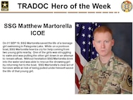 On 01 SEP 19, Staff Sgt. Matthew Martorella saved the life of a teenage girl swimming in Patagonia Lake. While on a pontoon boat, Martorella heard a cry for help coming from two young girls nearby. One of the girls was struggling to swim and was pulling the other girl down in an attempt to remain afloat.  Without hesitation Martorella dove into the water and was able to rescue the drowning girl by returning her to the boat. Martorella's clear act of heroism while at risk of being pulled under himself saved the life of that young girl.