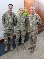 U.S. Air Force Staff Sgt. Gary Jeffrey, left, storage and distribution noncommissioned officer in charge, 81st Medical Support Squadron, Keesler Air Force Base, Mississippi, and Senior Airman Misty A. Richmond, center, public health technician, 52nd Aerospace Medicine Squadron, Spangdahlem Air Base, Germany, stand with Chief Master Sgt. G. Steve Cum, Medical Enlisted Force Chief and Enlisted Corps Chief, at the Air Force Medical Service 2019 Senior Leadership Workshop in Leesburg, Virginia, Dec. 3, 2019. Jeffrey and Richmond were honored as Outstanding Airmen of the Year. Every year, Air Force officials select and recognize the service's top 12 enlisted members. (U.S. Air Force photo by Josh Mahler)