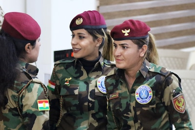 Female Peshmerga soldiers earned their Advanced Instructor title at Coalition Joint Task Force training centers in Sulaymaniyah and Erbil, Iraq, Nov. 27-28, 2019. They can now teach their fellow soldiers various skills and classes, including weapons, basic first aid, the law of armed conflict and preventing gender-based violence. The Coalition remains united and determined in its mission to degrade and defeat Daesh and continues to work with allies and partners to implement stabilization efforts. (U.S. Army photo by Sgt. 1st Class Gary A. Witte)