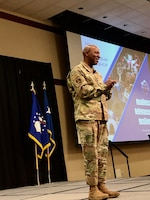 Chief Master Sergeant of the Air Force Kaleth O. Wright welcomed senior leaders at the Air Force Medical Service 2019 Senior Leadership Workshop in Leesburg, Virginia, Dec. 3, 2019. Wright touched on the role leadership plays in reducing suicide rates, Airmen fitness, and changes to policies. (U.S. Air Force photo by Karina Luis)