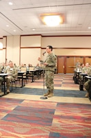 U.S. Air Force Maj. Gen. Sean Murphy, Air Force Deputy Surgeon General, speaks at the  Air Force Medical Service 2019 Senior Leadership Workshop in Leesburg, Virginia, Dec. 4, 2019. Murphy provided a leadership perspective on suicide prevention and how the Air Force provides resources and support to its Airmen. (U.S. Air Force photo by Josh Mahler)