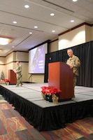 U.S. Air Force Maj. Gen. Sean Murphy, Air Force Deputy Surgeon General, left, and Chief Master Sgt. G. Steve Cum, Medical Enlisted Force Chief and Enlisted Corps Chief, speak during a question and answer session at the Air Force Medical Service 2019 Senior Leadership Workshop in Leesburg, Virginia, Dec. 5, 2019. (U.S. Air Force photo by Josh Mahler)