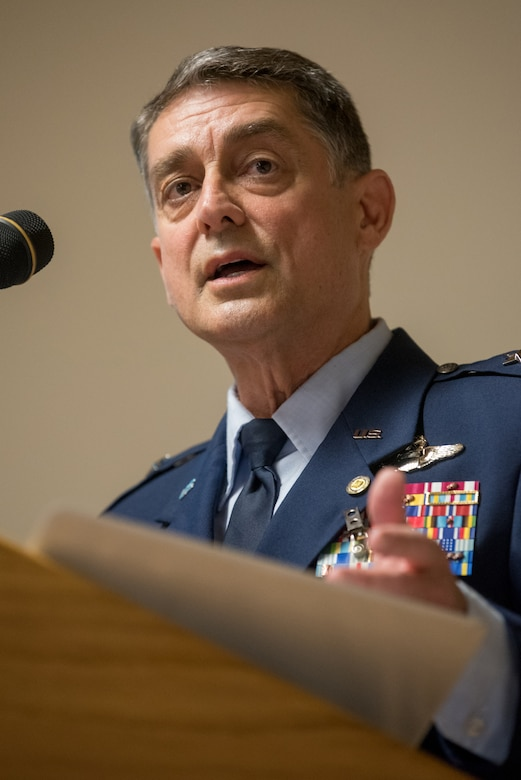 Brig. Gen. Warren Hurst, Kentucky's outgoing assistant adjutant general for Air, speaks at his retirement ceremony at the Kentucky Air National Guard Base in Louisville, Ky., Nov. 16, 2019. Hurst is retiring after more than 34 years of service to the active-duty Air Force and Kentucky Air National Guard. (U.S. Air National Guard photo by Staff Sgt. Joshua Horton)