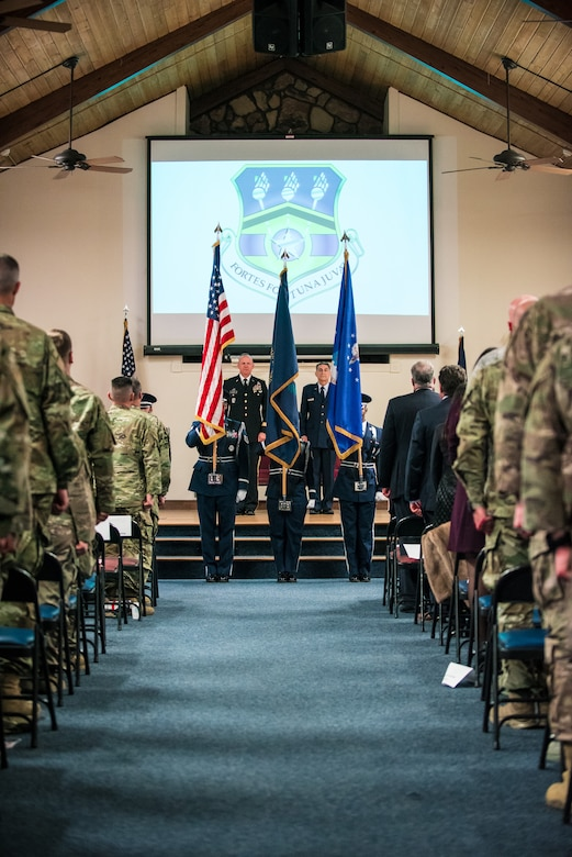 The 123rd Airlift Wing Honor Guard presents the colors at the Kentucky Air National Guard Base on Louisville, Ky., Nov. 16, 2019, during a retirement ceremony for Brig. Gen. Warren Hurst. Hurst most recently served as assistant adjutant general for Air in the Kentucky National Guard. (U.S. Air National Guard photo by Lt. Col. Dale Greer)