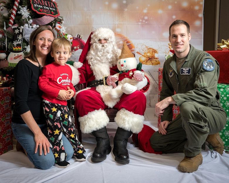 The Gerfaud family participates in the Airman and Family Readiness Center's Sensory Santa at Barksdale Air Force Base, La., Dec. 6, 2019. The event is specifically for Exceptional Family Member Program families to celebrate the holidays in a sensory-friendly atmosphere. (U.S. Air Force photo by Staff Sgt. Philip Bryant)