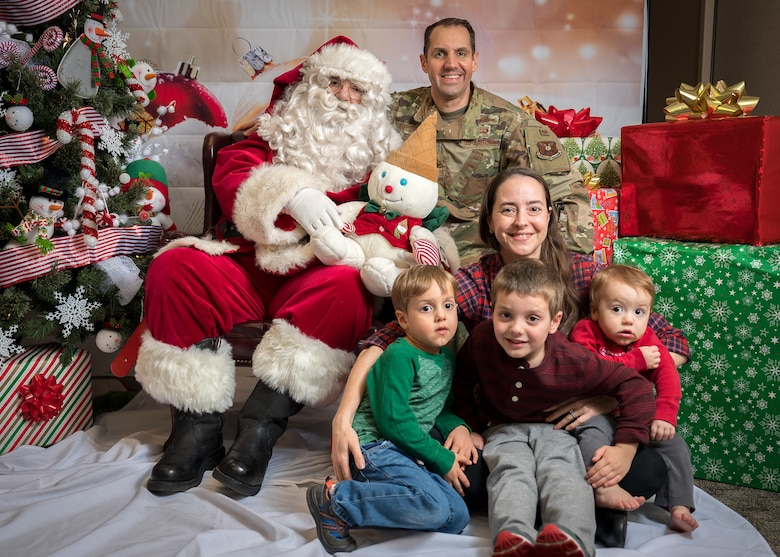 The Joerres family participates in the Airman and Family Readiness Center's Sensory Santa at Barksdale Air Force Base, La., Dec. 6, 2019. The event is specifically for Exceptional Family Member Program families to celebrate the holidays in a sensory-friendly atmosphere. (U.S. Air Force photo by Staff Sgt. Philip Bryant)