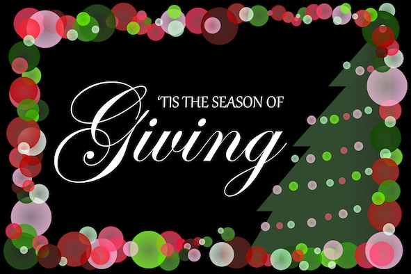 A christmas-themed graphic with the wording 'Tis the season of giving'.