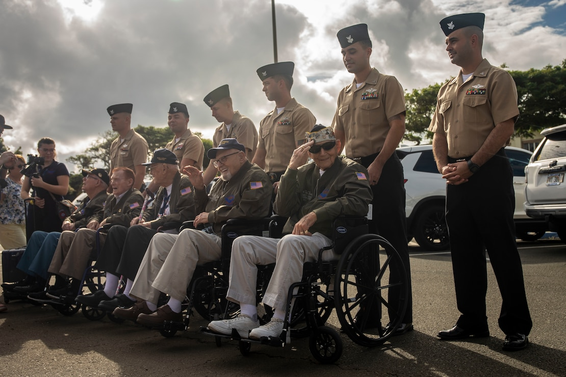 U.S. Navy veterans arrive at Mokapu Elementary School during their visit to Marine Corps Base Hawaii, Dec. 5, 2019. The Best Defense Foundation returned 6 WWII Pearl Harbor and Naval Air Station Kaneohe Bay survivors to Hawaii for the 78th Commemoration of Pearl Harbor and Naval Air Station Kaneohe Bay which is now MCBH. The heroes returned were Jack Holder US NAVY - Naval Air Station, Kaneohe Bay; Tom Foreman US Navy - USS Cushing; Ira Schab US Navy - USS Dobbin; Stuart Hedley US Navy - USS West Virginia; Donald Long US Navy - Naval Air Station, Kaneohe Bay; and Chuck Kohler US Navy - USS Hornet.