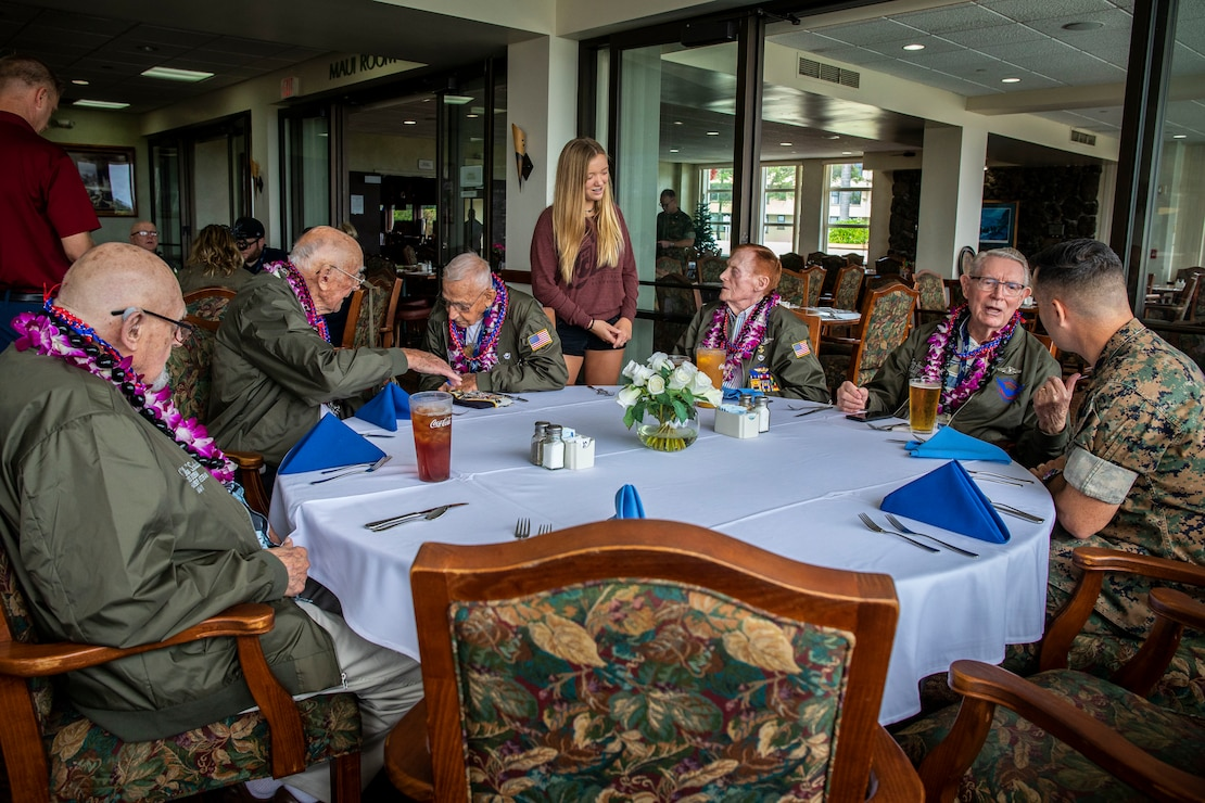 U.S. Navy World War II veterans attend lunch at The Officer's Club during their visit, Marine Corps Base Hawaii, Dec. 5, 2019. The Best Defense Foundation returned 6 WWII Pearl Harbor and Naval Air Station Kaneohe Bay survivors to Hawaii for the 78th Commemoration of Pearl Harbor and Naval Air Station Kaneohe Bay which is now MCBH. The heroes returned were Jack Holder US NAVY - Naval Air Station, Kaneohe Bay; Tom Foreman US Navy - USS Cushing; Ira Schab US Navy - USS Dobbin; Stuart Hedley US Navy - USS West Virginia; Donald Long US Navy - Naval Air Station, Kaneohe Bay; and Chuck Kohler US Navy - USS Hornet.