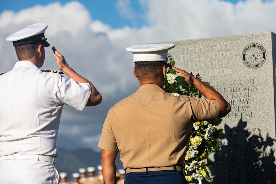 U.S. Marine Corps Col. Raul Lianez, commanding officer, Marine Corps Base Hawaii, and CDR Steve Niemann, officer in charge, Naval Support Detachment, place a wreath at the Klipper Memorial during the Klipper Ceremony, Marine Corps Base Hawaii, Dec. 7, 2019. The Klipper Memorial was dedicated in 1981 to honor the 17 U.S. Navy Sailors and two civilian contractors who died during the attack on Naval Air Station Kaneohe Bay on Dec. 7, 1941.