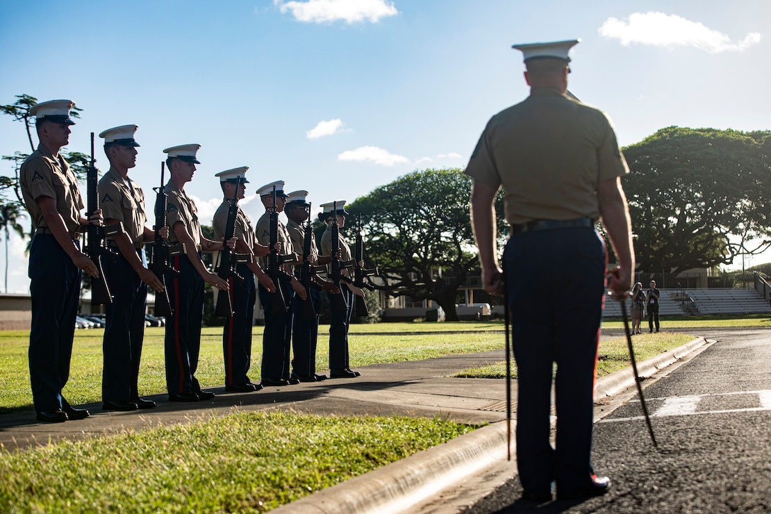 U.S. Marines with the rifle detail for the annual Klipper Ceremony perform a rifle salute, Marine Corps Base Hawaii, Dec. 7, 2019. The Klipper Memorial was dedicated in 1981 to honor the 17 U.S. Navy Sailors and two civilian contractors who died during the attack on Naval Air Station Kaneohe Bay on Dec. 7, 1941.