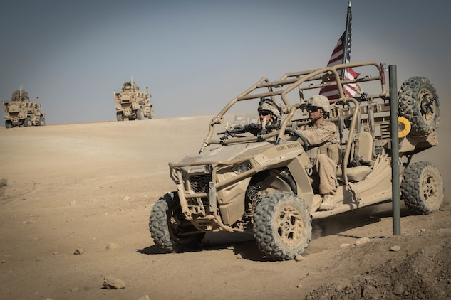 U.S. Marines with 3rd Battalion, 7th Marine Regiment, 1st Marine Division attached to Special Purpose Marine Air-Ground Task Force, Crisis Response-Central Command drive a Utility Task Vehicle around security positions at Fire Base Um Jorais July 4, 2018. Program Executive Officer Land System's Light Tactical Vehicle program office is currently implementing several upgrades—including upgraded tires, clutch improvement kit and floorboard protection—to UTVs across the fleet. (U.S. Marine Corps Photo by Cpl. Carlos Lopez)