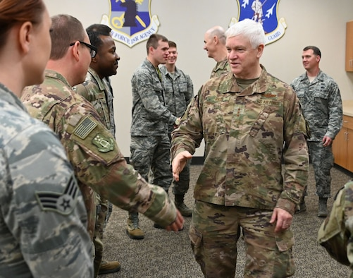 U.S. Air Force Lt. Gen. L. Scott Rice, director of the Air National Guard, greets a group to Airmen at the 118th Wing, Tennessee ANG, Dec. 6, 2019 at Berry Field Air National Guard Base, Nashville, Tennessee.