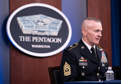 "Army Command Sgt. Maj. John Wayne Troxell, Senior Enlisted Advisor to the chairman of the Joint Chiefs of Staff, speaks as he prepares to depart the position during a press briefing in the Pentagon Press Briefing Room, Washington, D.C., Dec. 9, 2019. Troxell conduct a Change of Responsibility and hand the duties off to Air Force Chief Master Sgt. Ramon ""CZ"" Colon-Lopez, incoming Senior Enlisted Advisor to the Chairman of the Joint Chiefs of Staff."