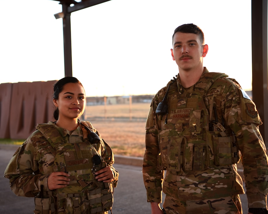 Security Forces Airmen pose for portrait at Tye Gate