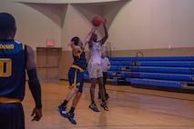Nellis Lightning prepares to shoot the basketball