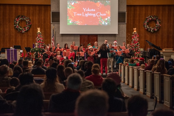 The Yokota Tree Lighting Choir performs holiday songs at the Friendship Chapel on Dec. 6, 2019, at Yokota Air Base, Japan
