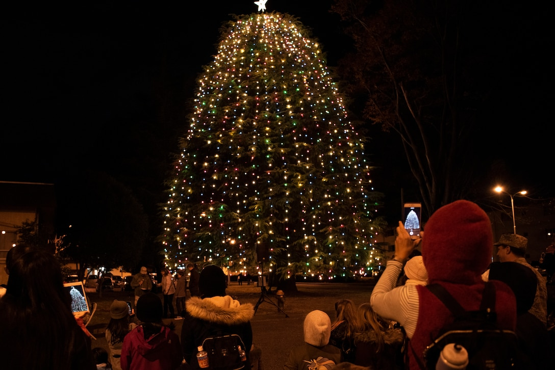 Members of Team Yokota begin the holiday season with a Christmas tree lighting ceremony on Dec. 6, 2019, at Yokota Air Base, Japan