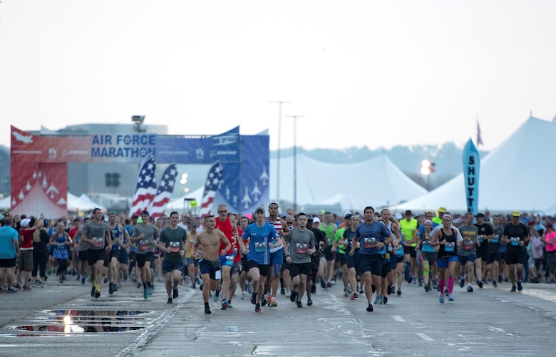 The Air Force Marathon, presented by Northrop Grumman, USAA and Boeing, is scheduled for Saturday, Sept. 19, 2020. The Health & Fitness Expo is held at Wright State University's Nutter Center and is scheduled for Thursday, Sept. 17, and Friday, Sept. 18. The event will also feature a Breakfast of Champions and Gourmet Pasta Dinner scheduled for Friday, Sept. 18. Get more information about the race at www.usafmarathon.com. (U.S. Air Force photo/Michelle Gigante)