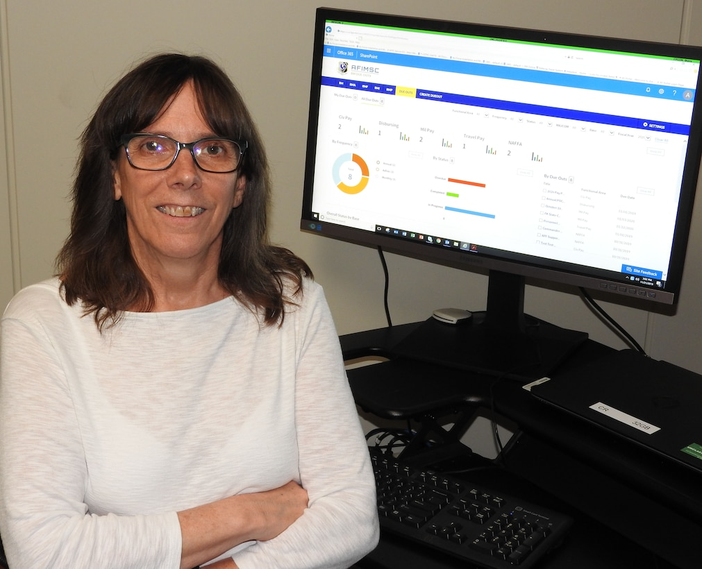 Linda Alcala and her finance operations team launch an innovative tool today that will simplify management of AFIMSC Resources Directorate tasks to installation comptroller squadrons. (U.S. Air Force photo by Ed Shannon)