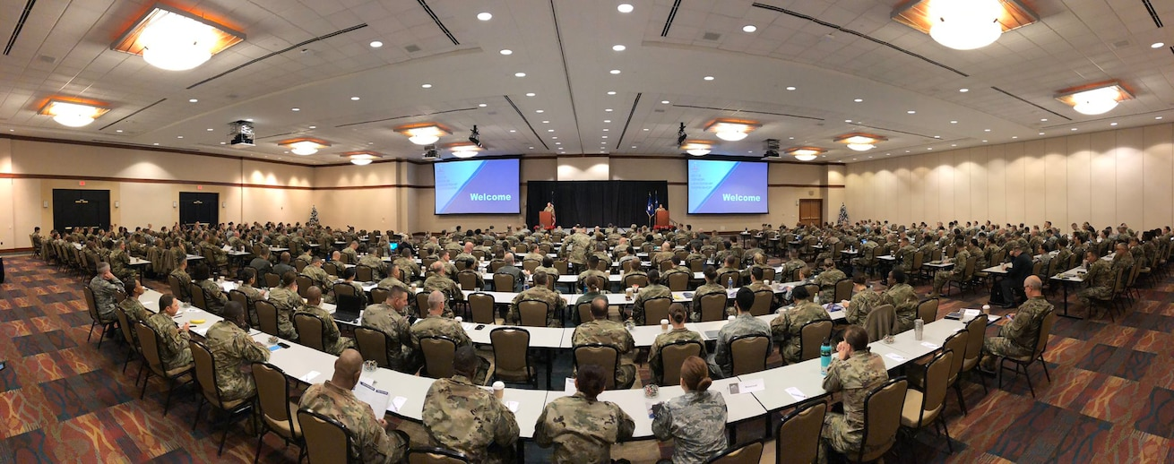 Senior leaders from across the Air Force Medical Service gathered together at the Air Force Medical Service 2019 Senior Leadership Workshop at the National Conference Center in Leesburg, Virginia, Dec. 2-5, 2019. Leaders discussed the readiness, relevance, and resilience of the medical force.  (U.S. Air Force photo by Karina Luis)
