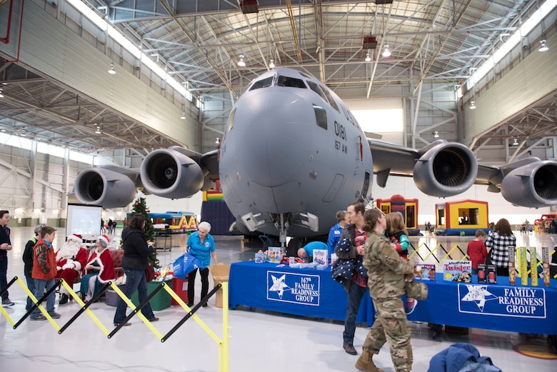 A 167th Airlift Wing C-17 Globemaster III aircraft was center-stage for the wing's family day event, Dec. 8, 2019. The aircraft was open for tours as Airmen and their family participated in a variety of activities