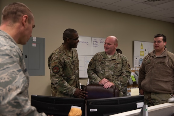 U.S. Air Force Chief Master Sgt. Wendell Snider, 366th Fighter Wing command chief speaks with Staff Sgt. Wesley Duke, 366th Logistics Readiness squadron NCO in change of ground transportation support, November 8, 2019, on Mountain Home Air Force Base, Idaho. Snider makes it his priority to get to know people from different units. (U.S. Air Force photo by Airman Natalie Rubenak)